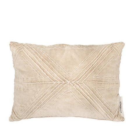 Riverdale Kissen Lilie beige braun Samt Baumwolle 35x50cm