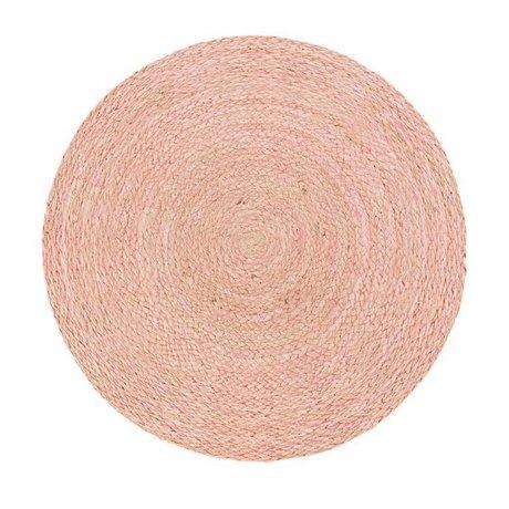 Riverdale Alfombra Medan redondo yute rosa ø150cm