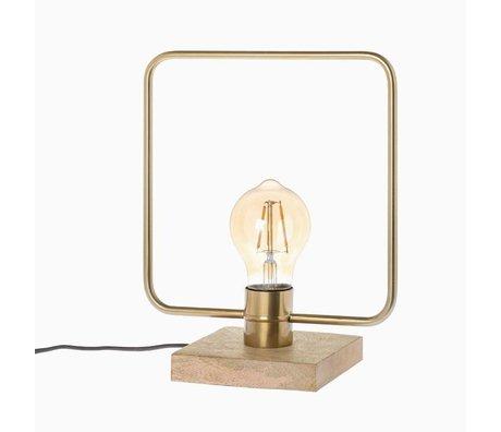 Riverdale Lampe de table Bryce en acier doré et manguier 32cm