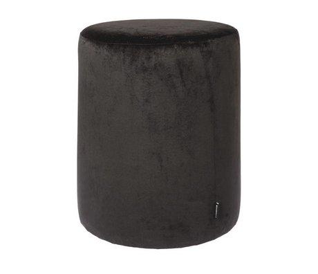 Riverdale Taburet Chelsea sort sammet ø45x50cm