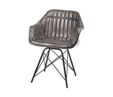 Riverdale Spisestue Tulsa grå læder stål 83cm
