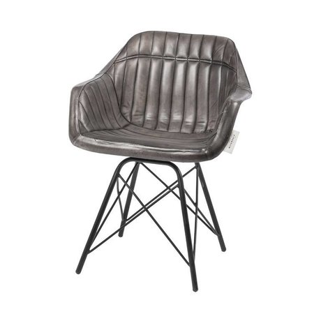 Riverdale Dining chair Tulsa gray leather steel 83cm