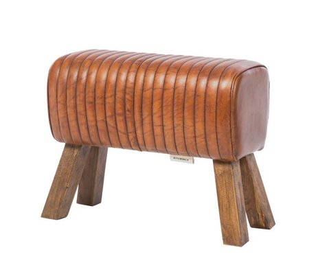Riverdale Stool Tulsa brown leather wood 64x30x51cm
