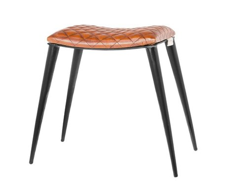 Riverdale Stool Tulsa brown leather 40x30x48cm