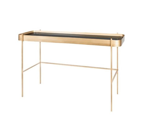 Riverdale Side table Elano gold metal glass 121cm