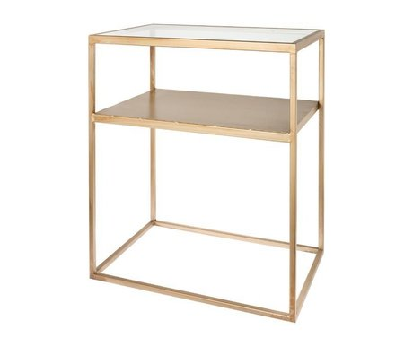 Riverdale Side table Elano gold metal glass 60cm