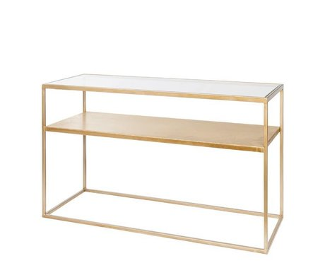 Riverdale Side table Elano gold metal glass 120x40x71cm