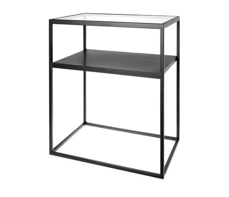 Riverdale Side table Elano black metal glass 60x40x71cm