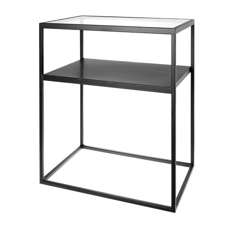 Riverdale Bijzettafeltje Wit.Riverdale Side Table Elano Black Metal Glass 60x40x71cm