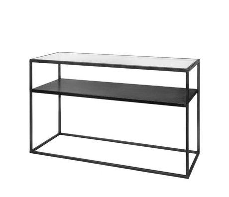 Riverdale Table d'appoint Elano verre métallique noir 120x40x71cm