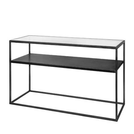 Riverdale Mesa auxiliar Elano vidrio metal negro 120x40x71cm