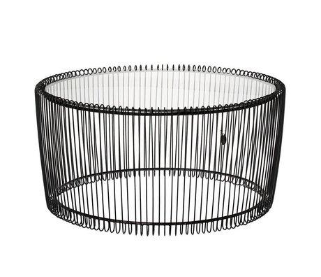 Riverdale Table d'appoint Amaro en verre noir Ø70x34cm