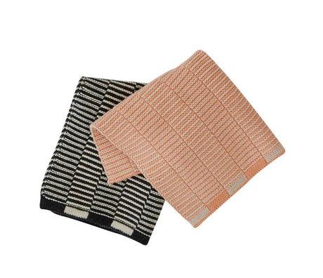 OYOY Tea towels Stringa anthracite cream-white Coral Set of 2 pieces 25x25cm