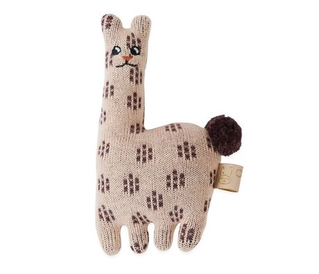 OYOY Sonaglio Baby Lama in cotone rosa 4,5x14cm