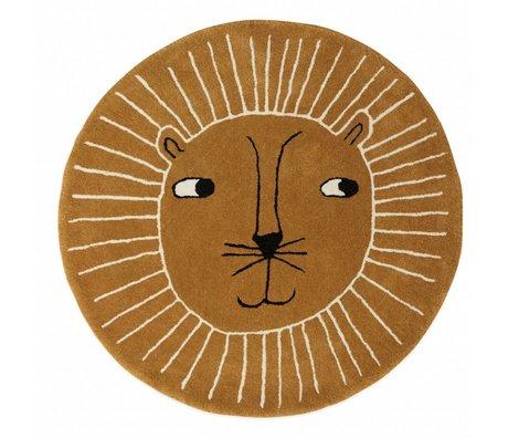 OYOY Alfombra león lana marrón algodón ø95cm
