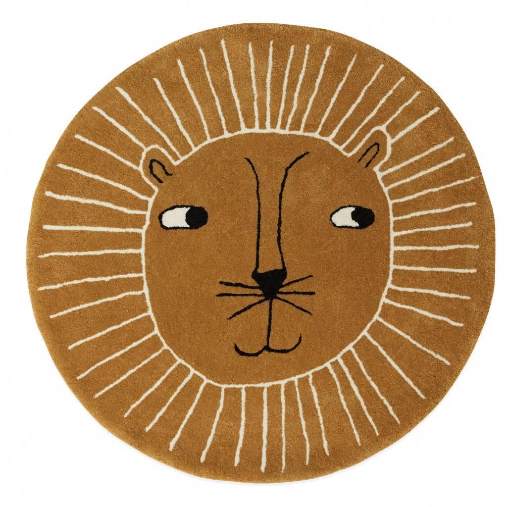 Teppich Lion Brauner Wolle Baumwolle O95cm