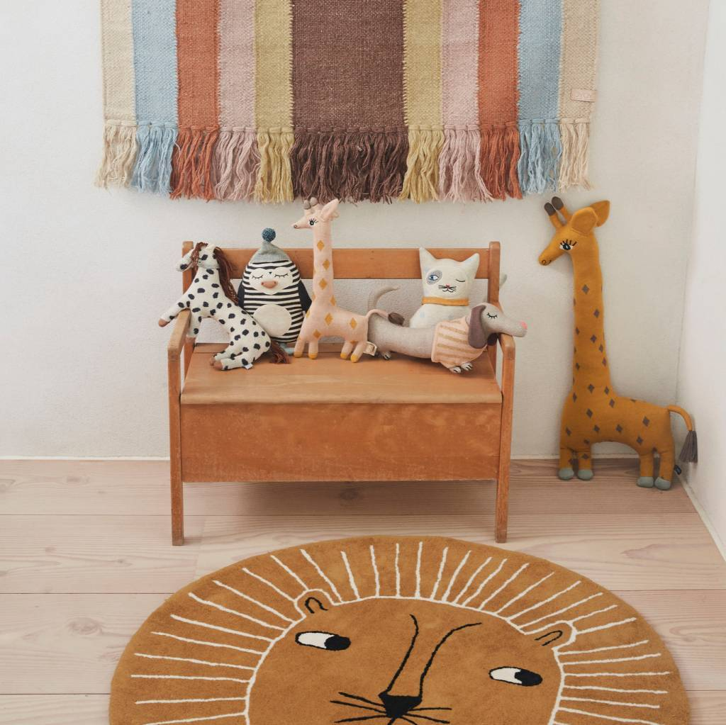 OYOY Alfombra león lana marrón algodón ø95cm - lefliving.com