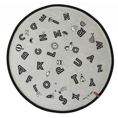 OYOY Alfabeto alfombra gris algodón ø120cm.