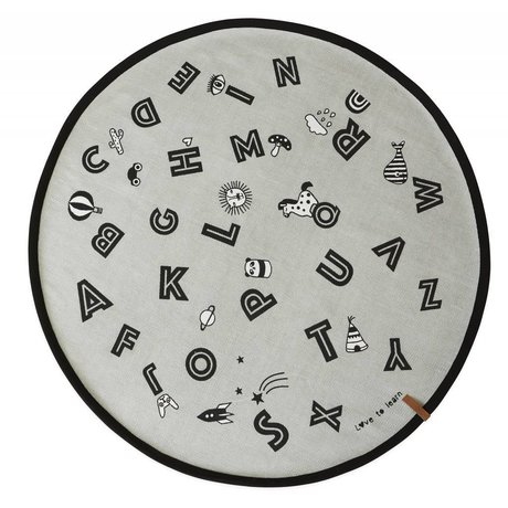 OYOY Teppich Alphabet grau Baumwolle ø120cm