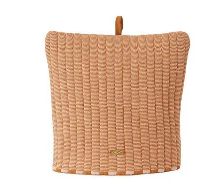 OYOY Bonnet à thé Stringa en coton marron caramel câlin 32x30cm