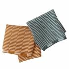 OYOY Tea towels Stringa caramel brown mint green set of 2 pieces 25x25cm