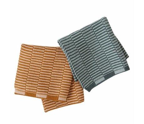 OYOY Juego de toallas de té Stringa caramelo marrón menta verde de 2 piezas 25x25cm