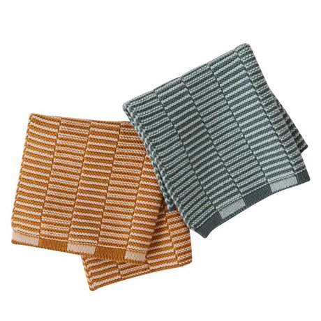 OYOY Torchons Stringa caramel brun menthe vert lot de 2 pièces 25x25cm