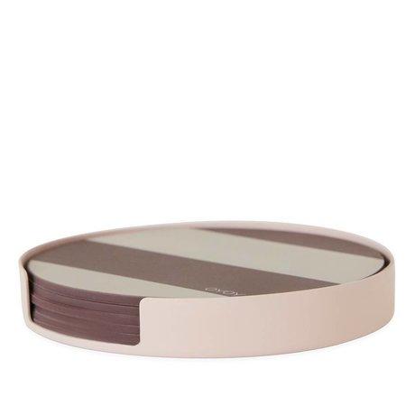 OYOY Coaster Oka pink metal silikone ø9,4x1,2cm