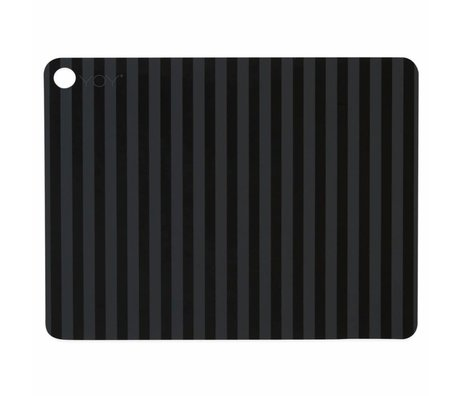 OYOY Placemat Striped sort silikone 45x34x0,15cm sæt med 2