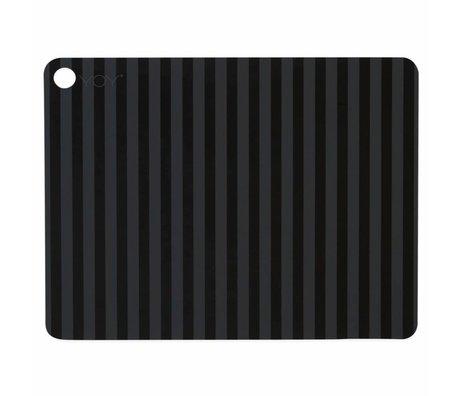 OYOY Tovaglietta in silicone nero a strisce 45x34x0,15cm set di 2