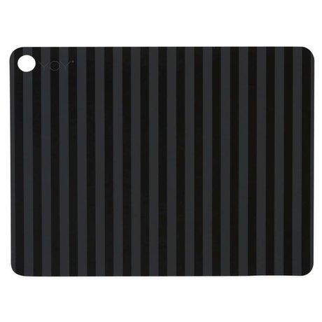 OYOY Mantel de rayas negro de silicona 45x34x0,15cm juego de 2