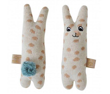 OYOY Rattle baby kanin beige blå bomuld 4,5x14cm