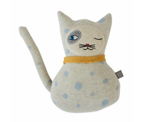 OYOY Almohada de peluche Baby Benny Cat algodón 14x23cm