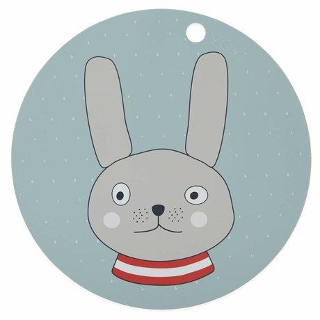 OYOY Placemat rabbit mint green sillecones ø39x0,15cm
