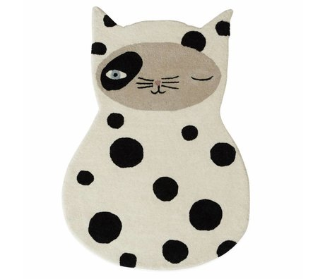 OYOY Carpet Zorro cat in white / anthracite gray wool cotton 63x90cm