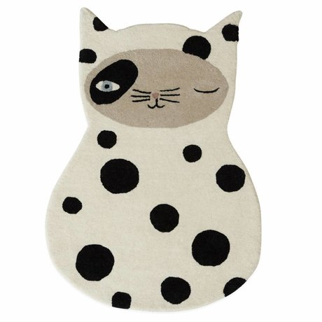 OYOY Alfombra Zorro gato en blanco / gris antracita algodón 63x90cm