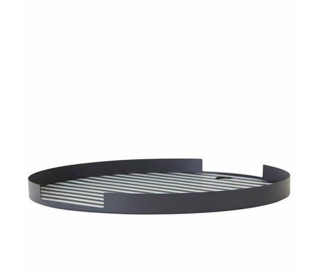OYOY Tray Oka round anthracite white silvery metal ø32,5x1,8cm
