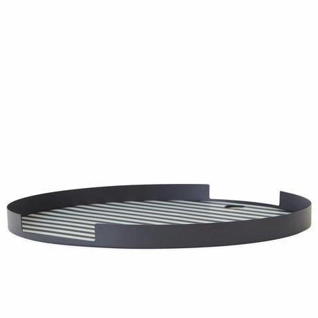 OYOY Bandeja Oka redonda antracita metal plateado blanco ø32,5x1,8cm