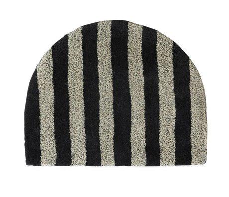 OYOY Teppich Fomu aus weißer anthrazitfarbener Wolle 77x62cm