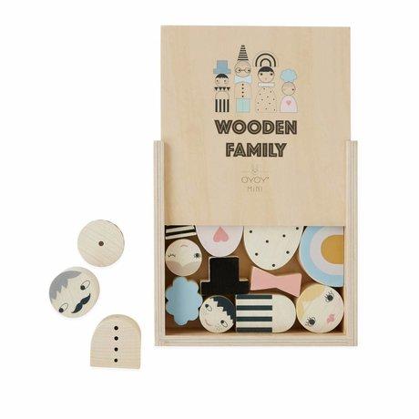 OYOY Mattoncini giocattolo famiglia in legno 2.5-5.5 x H 1-5.5 cm
