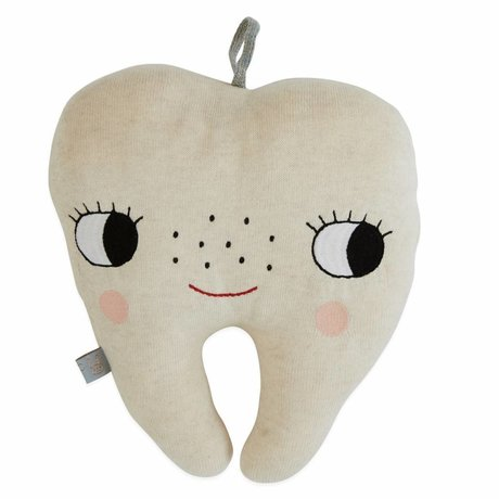 OYOY Doudou peluche dent fée naturel coton blanc 22x27cm
