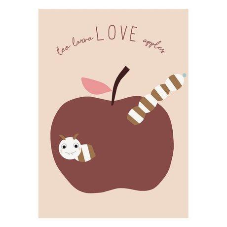 OYOY Plakat Kærlighed æbler pulverrosa bordeaux papir 50x70cm