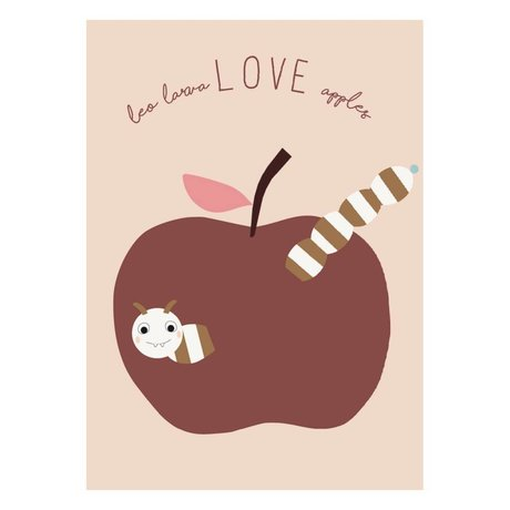 OYOY Poster Love apples powder pink bordeaux paper 50x70cm