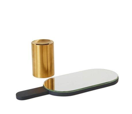 OYOY Specchietto manuale Renga in ottone antracite metallo legno 11x11x30,5cm