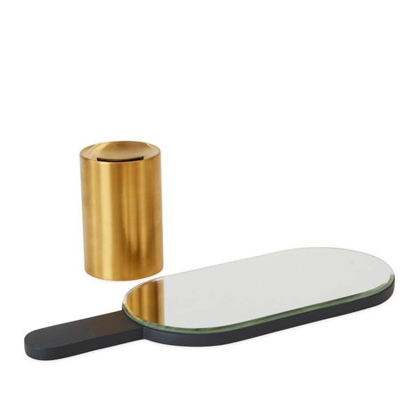 OYOY Hand mirror Renga anthracite brass metal wood 11x11x30,5cm