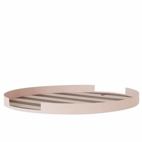 OYOY Vassoio Oka rotondo rosa bordeaux sillecones in metallo ø32,5x1,8cm