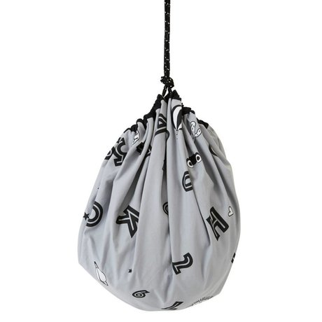 OYOY Sacchetto di immagazzinaggio / coperta gioco alfabeto tela di cotone grigio ø138cm