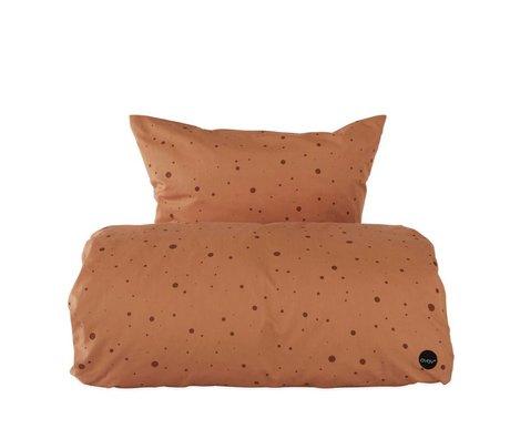 OYOY Funda nórdica punto caramelo marrón algodón bebé 70x100cm
