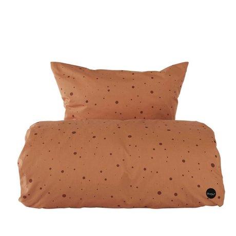 OYOY Copripiumino punto caramello marrone cotone 1 persona extra lungo 140x22cm