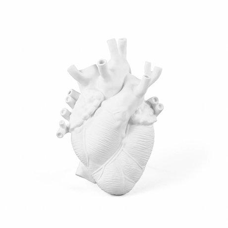 Seletti Vase Love en porcelaine blanche fleurie 16,5x9x25cm